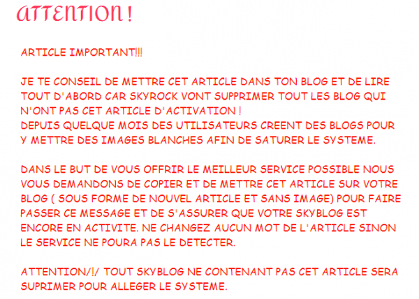 Attention - Skyrock