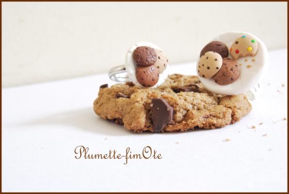 Bagues assiette de cookies en fimo !