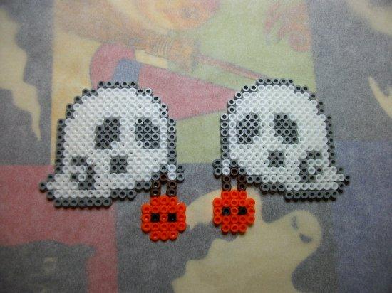 citrouille + fantôme en perle hama pour Halloween