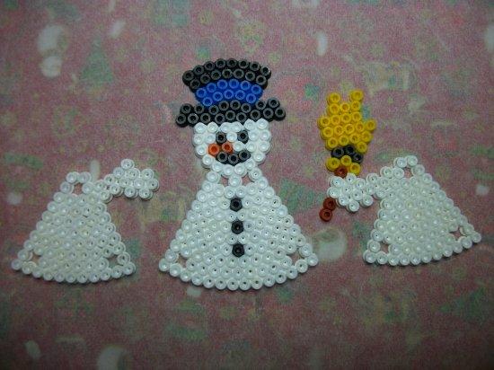 Bonhomme de neige en 3 D en perles Hama