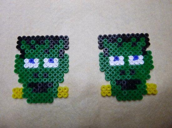 Tête de Frankenstein pour halloween en perle Hama