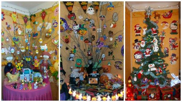 Arbre de pâque ,Halloween  et noël avec des sujets en perles Hama