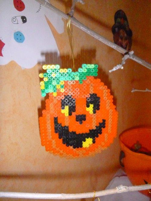 Citrouille 4 en perle hama pour mon arbre d'halloween
