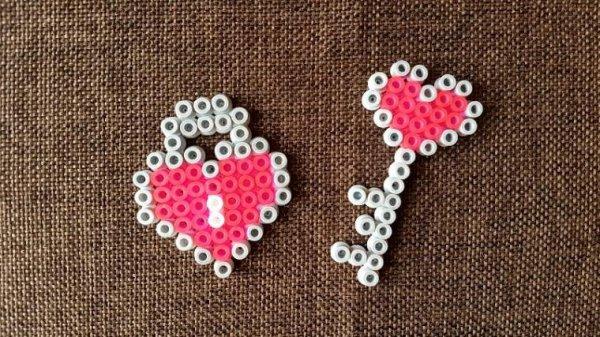 C½ur en forme de cadenas en perle Hama