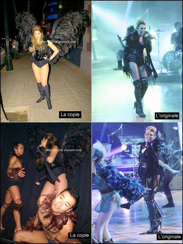 """Fan de Miley.. à fond !           DÉCOUVREZ , SERENA FAN DE MILEY C. AU POINT D'EN FAIRE SON LOISIRS .           Miley a été élue """" plus mauvaise influence de l'année 2010 """" ,certains trouveront ce titre juste, d'autres..injuste . Je vous propose de découvrir une jeune fille que j'ai découverte sur le réseau social """" Facebook """" . Son prénom est Serena âgée de 18 ans , elle n'en dit pas plus sur elle même ,son nom facebook? """" Miley Doble En Chile """" Traduction : Le sosie de Miley au Chilie """"  . Il se trouve qu'au Chilie c'est une vraie Star! En regardant ses photos sur facebook , on peut découvrir qu'elle animes des soirées habillé en """" Miley Cyrus version Can't BE Tamed """" où en """" Party In The Usa """"  ( voir ci dessous ) Où alors participe à des évènement   où elle pose même avec des fans , tel une VRAIE STAR! Ses opinions Politique ? Pas difficile! : MILEY CYRUS PRESIDENTE. Ses opinions religieuses? Allez.. MILEY CYRUS.Etonnant de consacrée ses soirées en chantant d Cyrus dans tout les bar du coin ? Quoi qu'il en soit cette jeune fille est obsédé par Miley et sa musique au point d'en devenir..son sosie. Qu'est-ce que tu penses de cette obsession pour sa star ? Miley Cyrus..? Préféres tu la version Miley ou Serena?                Tes impressions ?!"""