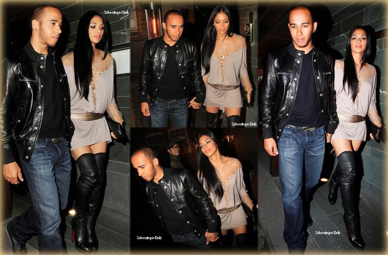 -- Mercredi 04 Avril 2012 : Nicole et Lewis ont été vus quittant le restaurant chinois Hakkasan, à Mayfair, pas loin de Londres.  La belle portait une robe légère grise avec une grosse ceinture or à la taille et chaussée une paire de cuissardes Louboutin ; Top! --