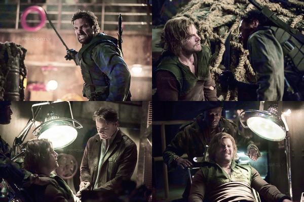 ↣ Découvrez la bande annonce de l'épisode 2x15 intitulé « The Promise » d'Arrow.  Synopsis – Oliver est choqué quand il apprend que Slade a rejoint Starling City. Sur l'île, tandis qu'Oliver, Slade et Sara se préparent à prendre en charge le transport de fret d'Ivo, Sara tire Oliver à part et lui dit qu'il a besoin de tuer Ivo pour l'empêcher de dire à Slade ce qui s'est passé avec Shado. Oliver se sent très coupable de la situation, mais réalise que la colère croissante de Slade concernant la Mirakuru le rend imprévisible et il pourrait se retourner contre ses amis s'il jugeait qu'Oliver est à blâmer. Oliver accepte de tuer Ivo et la bataille commence.