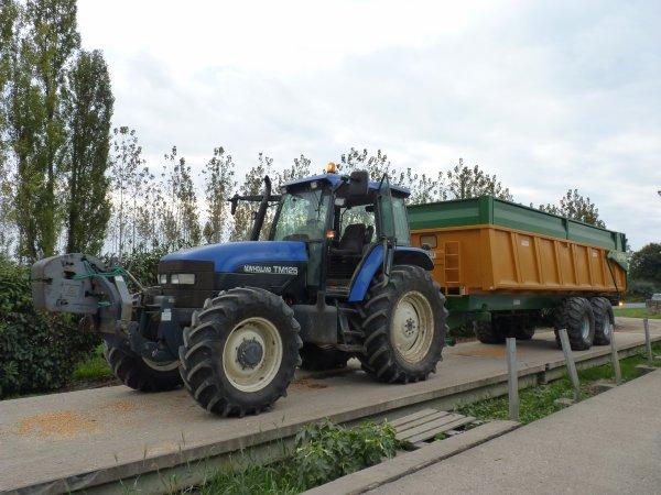 New Holland TM 125 et benne Gourdon 18 tonnes