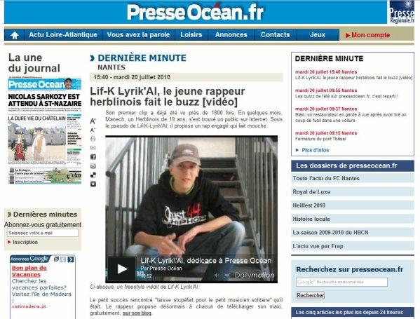 """Presse Océan : """"Lif-K Lyrik'al, le jeune rappeur herblinois fait le buzz"""""""