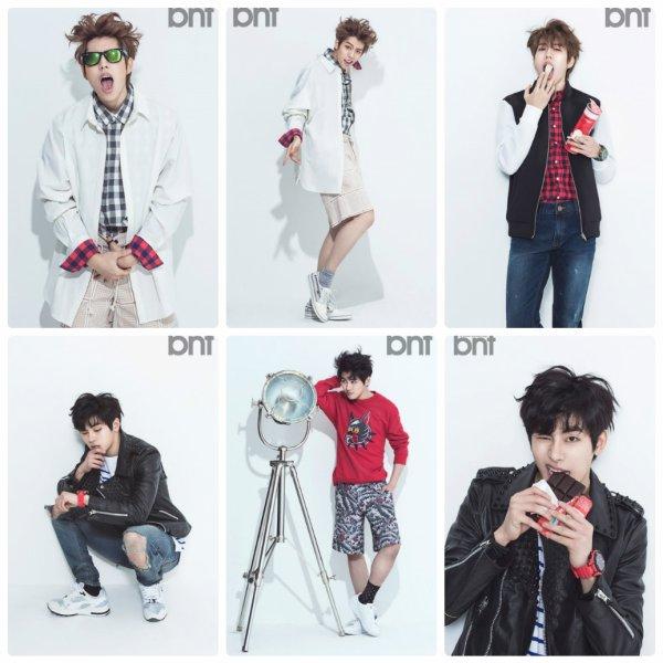 사진   Les membres Dong woo et  Hoya  du groupe  INFINITE ( sous-unité: INFINITE H) posent pour BNT International, mars 2015