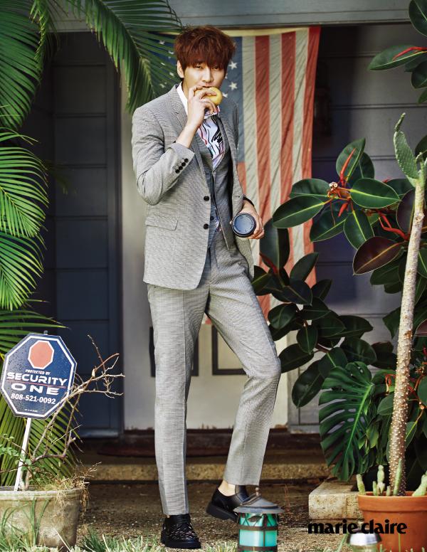 """사진     L'acteur -mannequin  Kim Young Kwang  et le mannequin  Lee Soo Hyuk  posent pour """" Marie Claire - Avril 2015"""""""