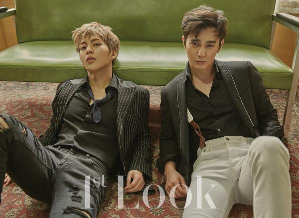 Kim Minseok (Xiumin) du groupe EXO et l'acteur Yoo Seung Ho posent pour 1st look