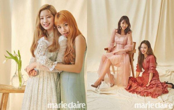 Le groupe TWICE en couverture du magazine Marie Claire Korea, août 2018