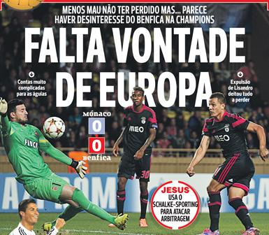 Ligue des Champions : Monaco 0-0 Benfica : Un match nul ennuyeux qui n'arrange pas les affaires du SLB !