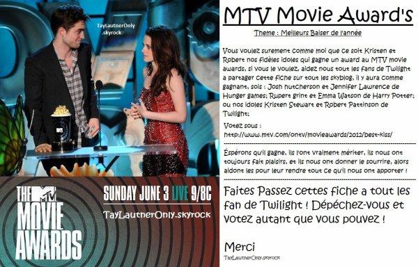 MTV Movie Award's 2012 : VOTER ET PUBLIER CETTE FICHE SUR VOTRE BLOG !