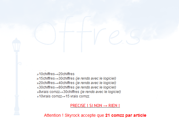 Offres (= ♥ .