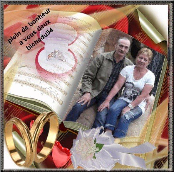 FELICITATIONS A MES DEUX AMI(ES) VIVIROMANTIQUEMOI ET GORILLE76 POUR LEUR MARIAGE TOUT MES VOEUX DE BONHEUR BISOUS BICHEDU54