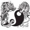 Yin et Yang, avec tigre et dragon