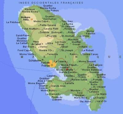 Carte Martinique Detaillee.Carte De La Martinique La Martinique
