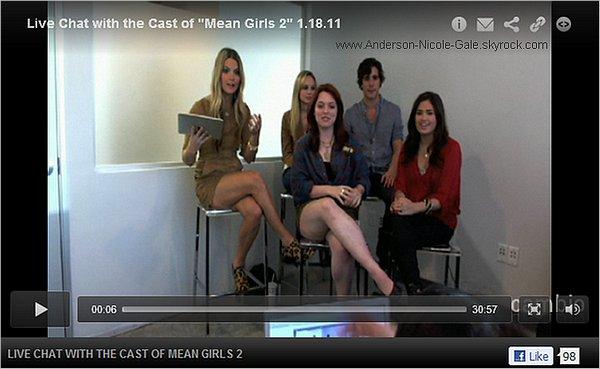 18.01.2011 // Comme je vous l' avais dit sur l' article précédent, le casting de Mean Girls 2 était en live chat sur le site de Cambio . Découvrez la vidéo de ce chat