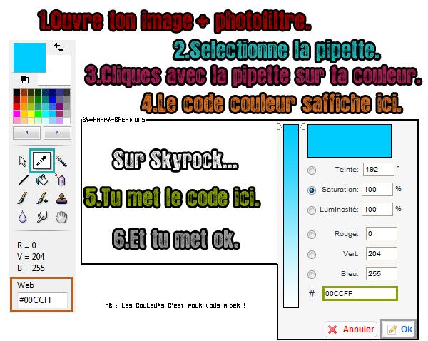 Avoir le code web d'une couleur.