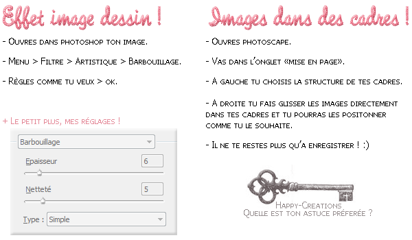 Effet image dessin (avec photoshop) et mettre des images dans des cadres (avec photoscape).