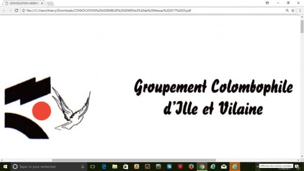 AG du Sous-Groupement d'Ille et Vilaine 14 octobre 2017(résevation repas avant le 04 octobre)