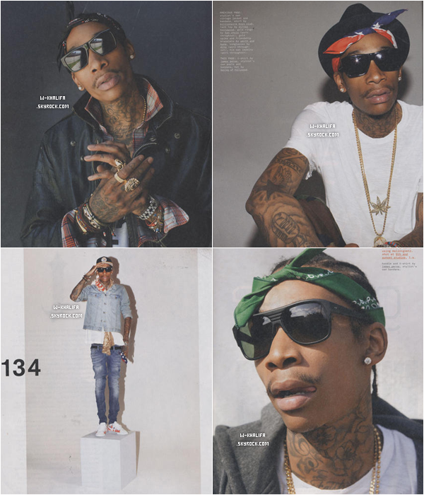 """* Wiz Khalifa sera dans le numéro de Septembre du magazine """"Nylon Guys"""". Voici les scans : *"""