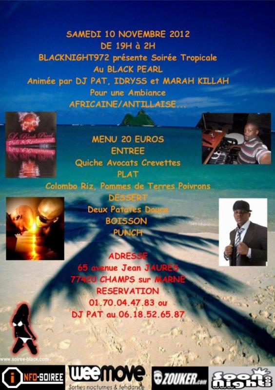 Samedi 10 novembre soirée TROPCAL au BLACK PEARL