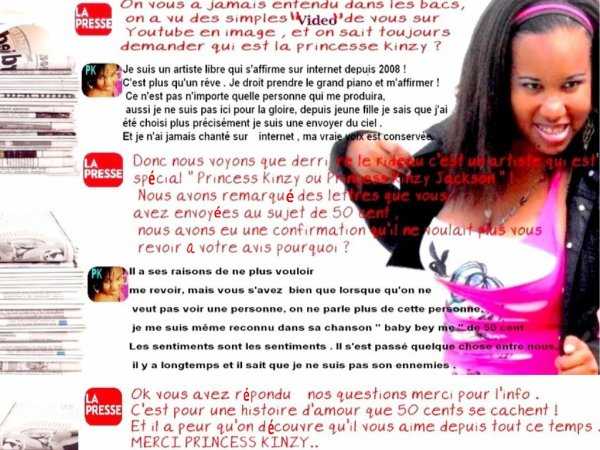 interview Princess Kinzy Jackson - Sur sa vie