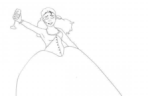 "Dessin : Angélica Schuyler dans la comédie musical Hamilton:Musical ! ""sur la chanson Satisfied"""