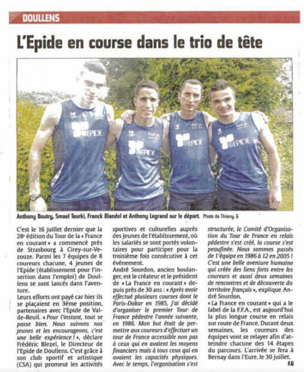 Article dans le Courrier Picard France en Courant 2016