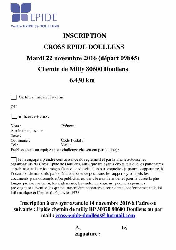 Bulletin d'inscription Cross Epide Doullens