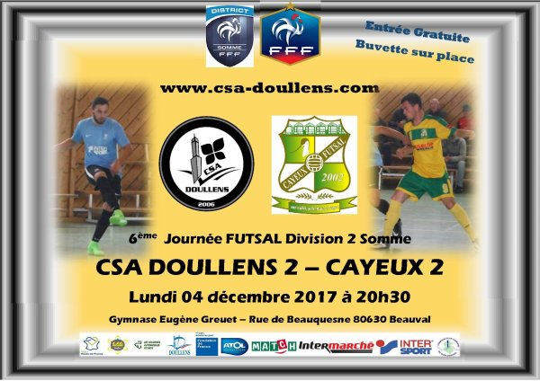 Division 2 Somme Futsal: Csa Doullens 2 - Cayeux B 04/12/17
