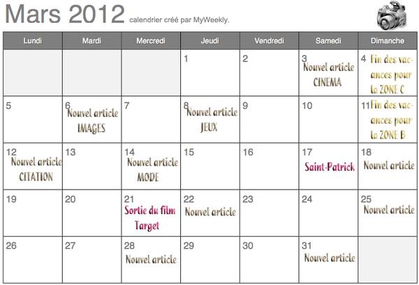 #Calendrier : mars 2012.
