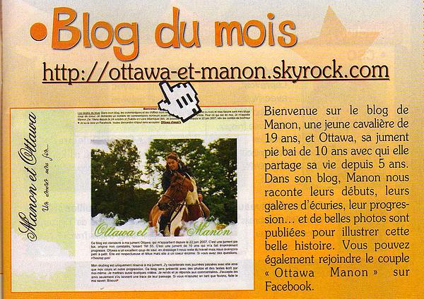 *Blog du mois dans le magasine cheval junior 19 juillet 2012 *