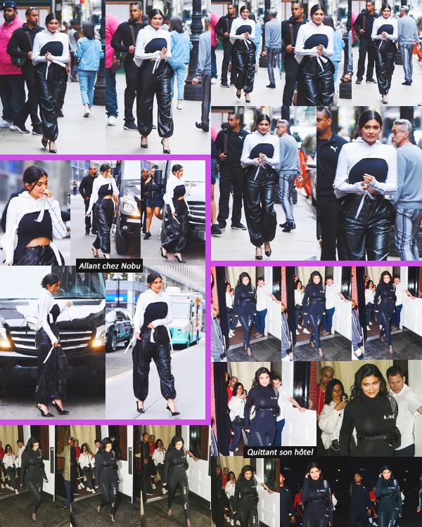 .05 Mai 2018 •• Kylie a été vue quittant son hôtel pour se rendre au restaurant Nobu à NYC Kylie a été vue avec Jordyn pour manger au restaurant. La belle a changer 2 fois de tenues et porte du Alexander Wang! Bof...