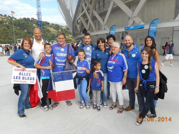 """NICE , le 1ér juin : FR / PARAGUAY  .... et nous étions : 411 supporters tous adhérents de """" Clément d'Antibes Aassociation ''"""