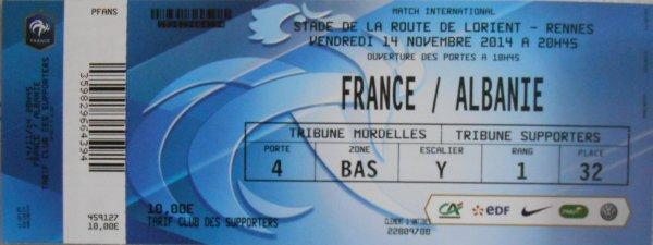 """.......213 éme match ... pour ce FRANCE / ALBANIE   du 14 novembre à RENNES  , ... qui sera ma :: 22 éme VILLE  française visitée (( depuis 1982 ))  grace aux BLEUS ....Nous serons , hélas , que 12 amis supporters , tous adhérents de """" Clément d'ANTIBES Association '' présents pour ce : 788éme match des BLEUS de nos AMIS  : Didier Deschamps et son adjoint Guy Stéfan ...PHILIPPE  , MOMO .....Départ ce merc. 12 nov. et retour le 15 nov. (( en avion , car moins cher qu'en train ....mais cher quand méme )) et retrouvér mes 2 """" démons '' de princesses , mes 2 petites -filles Ambre et Lys (( 11 et 5 ans )) ..... on """" vieillit '' ..hélas ....."""