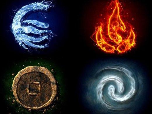 L'eau... Le feu.... La terre.....L'air.....