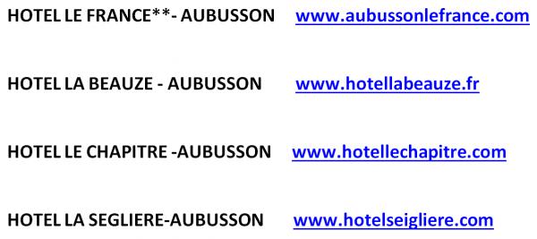 Les Hotels partenaire du CREUSE TATTOO