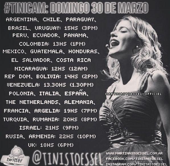 Horaires + Twicam de Tini le 30/03