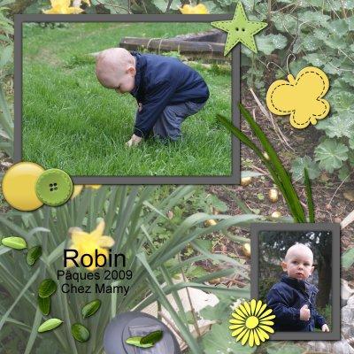 Robin ramasse les oeufs à Pâques...  en 2009