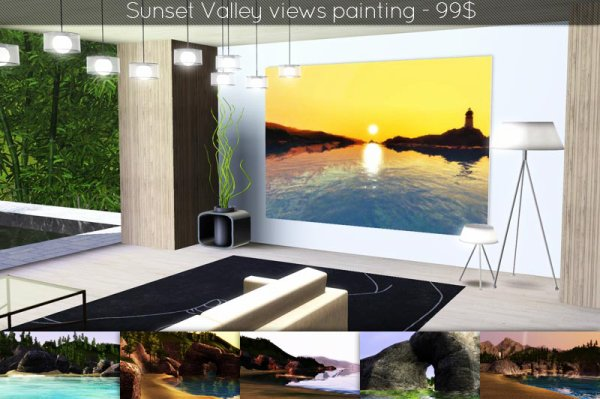 Sunset Valley views painting