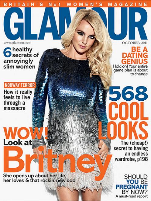 Britney Spears en couverture du Glamour Magazine UK - Octobre 2011