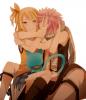 échange de tendres calins entre Natsu et Lucy.
