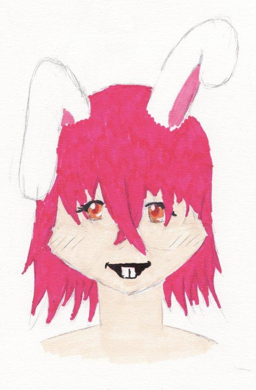 Une fille avec des oreilles de lapin