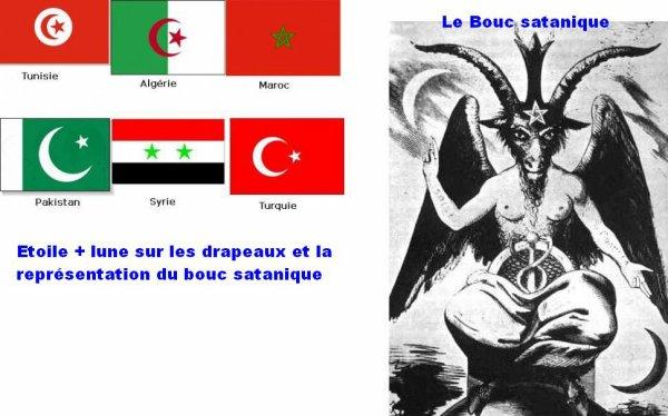 Le symbole du pentagramme sur différents drapeaux