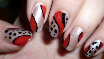 Nail Art Noir/blanc/rouge
