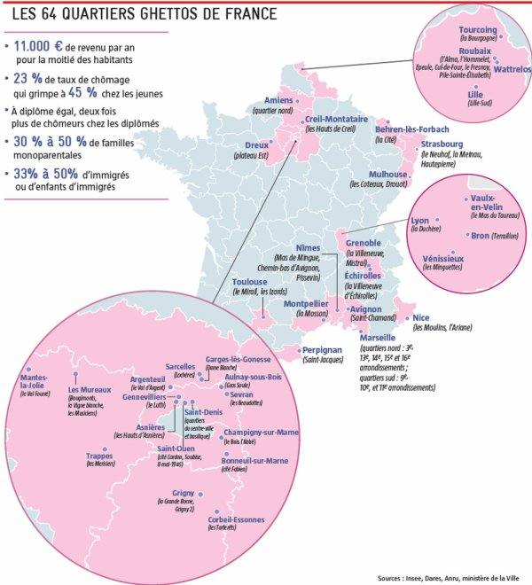 LES 64 GHETTOS DE FRANCE 2015 !